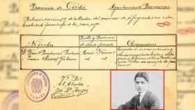 Documento del extinto Auxilio Social franquista que confirma que el abuelo paterno de Puigdemont, Francisco Puigdemont, pasó por Benaocaz (Cádiz) en 1938.