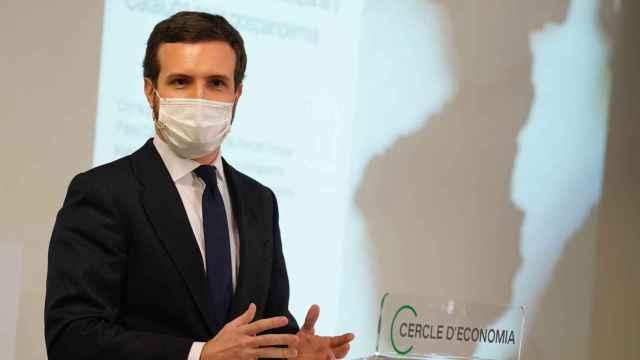 El presidente del PP, Pablo Casado, este lunes en el Círculo de Economía de Barcelona.