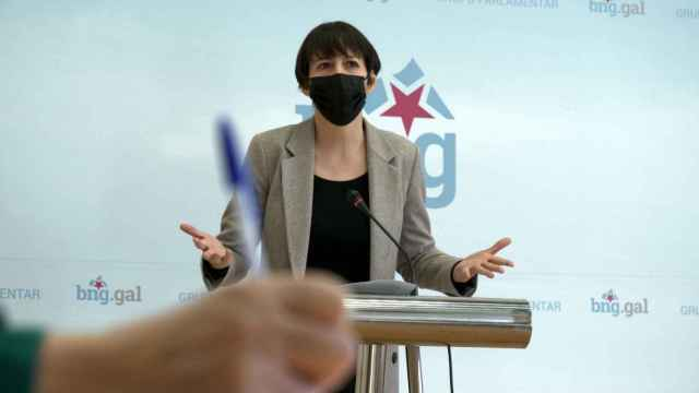 La portavoz nacional del BNG, Ana Pontón, durante una rueda de prensa.