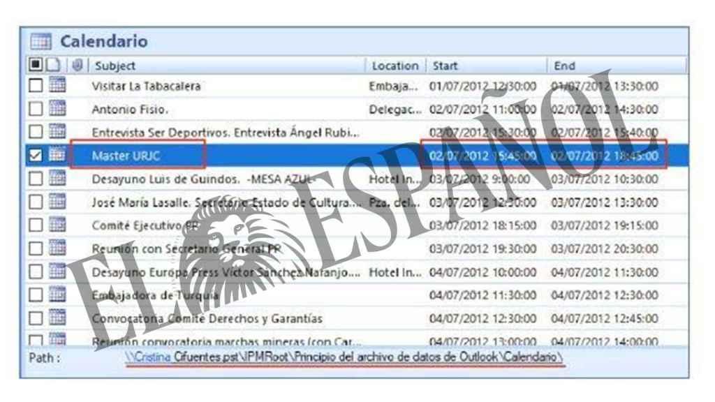 Agenda oficial de Cristina Cifuentes del mes de julio de 2012, aportada en el juicio.