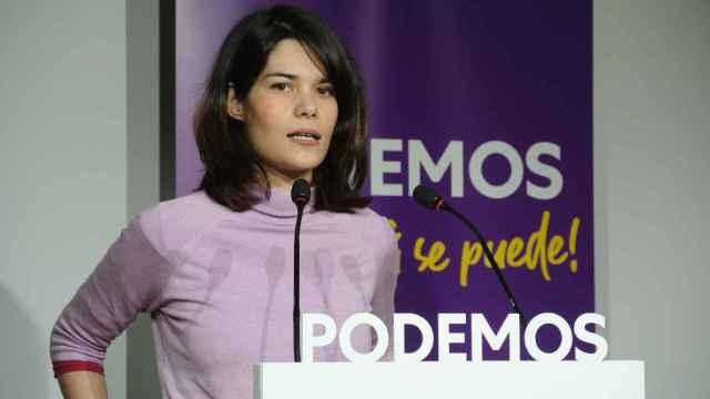 Isa Serra, portavoz de Podemos, en rueda de prensa.