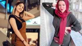 Las 'tiktokers' encarceladas Mawada Eladhm (izquierda) y Haneen Hossam (derecha), en imágenes de redes sociales.