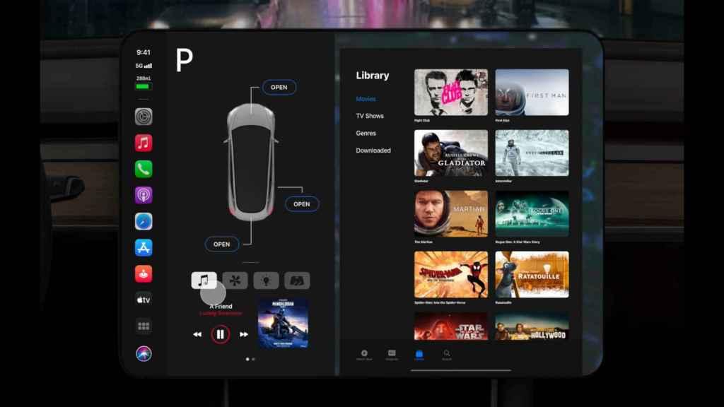En este concepto, Apple TV está integrado en la interfaz del coche