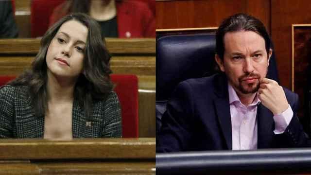 Inés Arrimadas y Pablo Iglesias en un fotomontaje.
