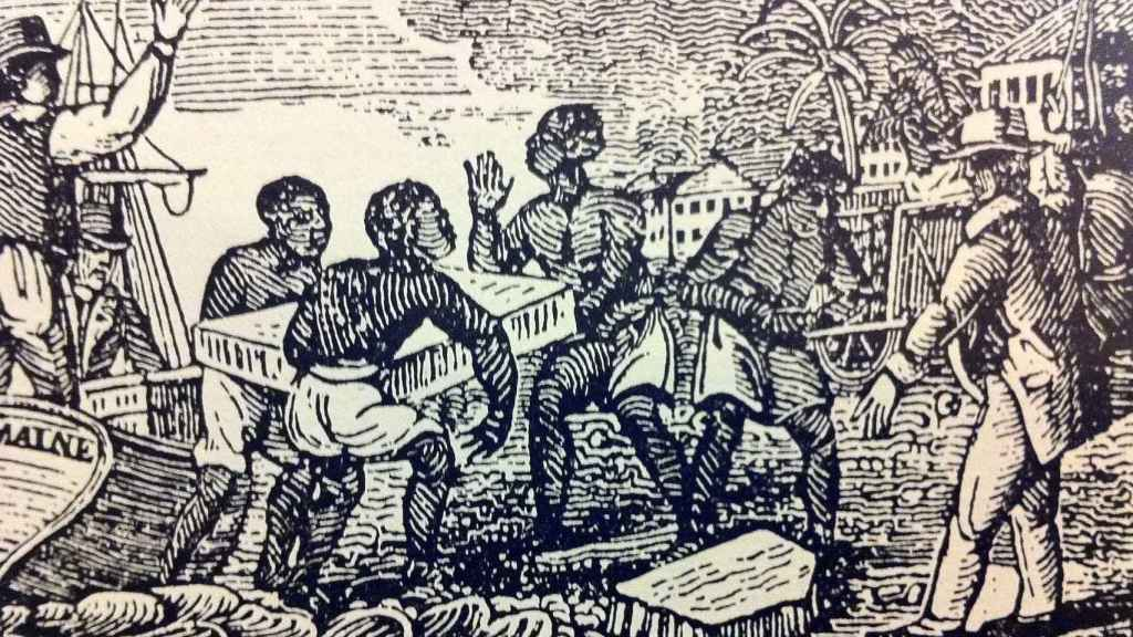 Esclavos descargando hielo en Cuba (1832).
