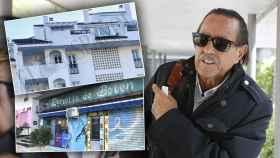 Muñoz junto a dos imágenes de su nueva casa y el locutorio donde pasa su día a día.