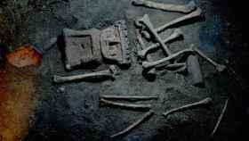 Restos humanos hallados en el yacimiento de Zultépec-Tecoaque.