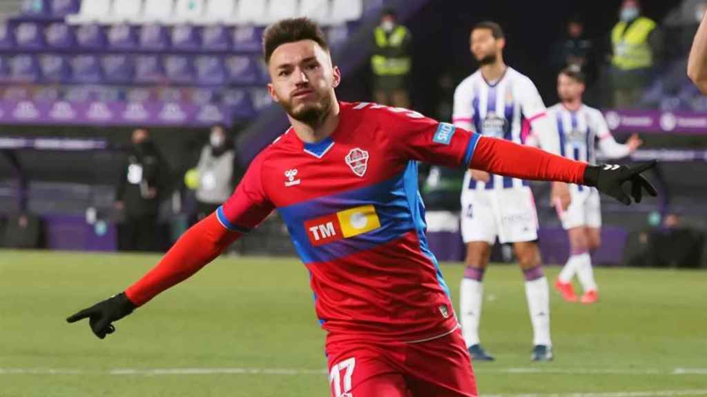 Josan Ferrández celebra uno de sus goles ante el Valladolid en la jornada 19 de La Liga