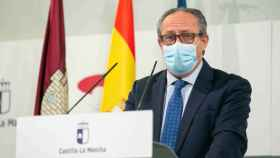 El consejero de Hacienda y Administraciones Públicas de Castilla-La Mancha, este martes en rueda de prensa