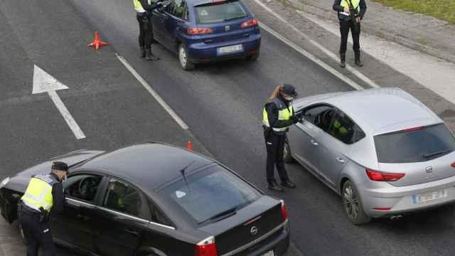 Un control de movilidad en Santiago de Compostela.