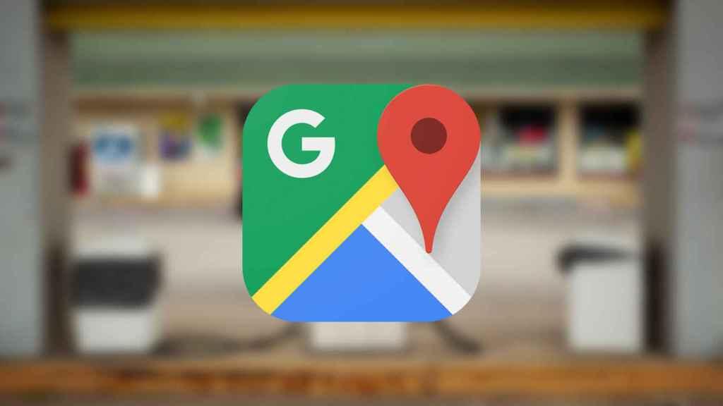 Gasolinera con el logo de Google Maps.