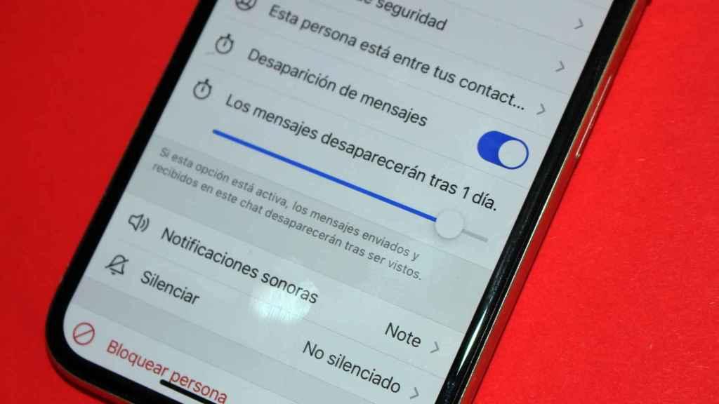 Signal permite fijar que los mensajes desaparezcan pasados un tiempo.