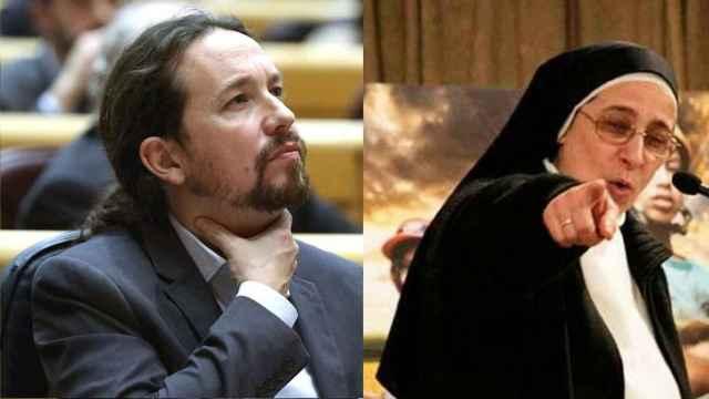 Pablo Iglesias y Sor Lucía en un fotomontaje.