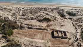 Vista aérea de la villa romana en Guardamar.