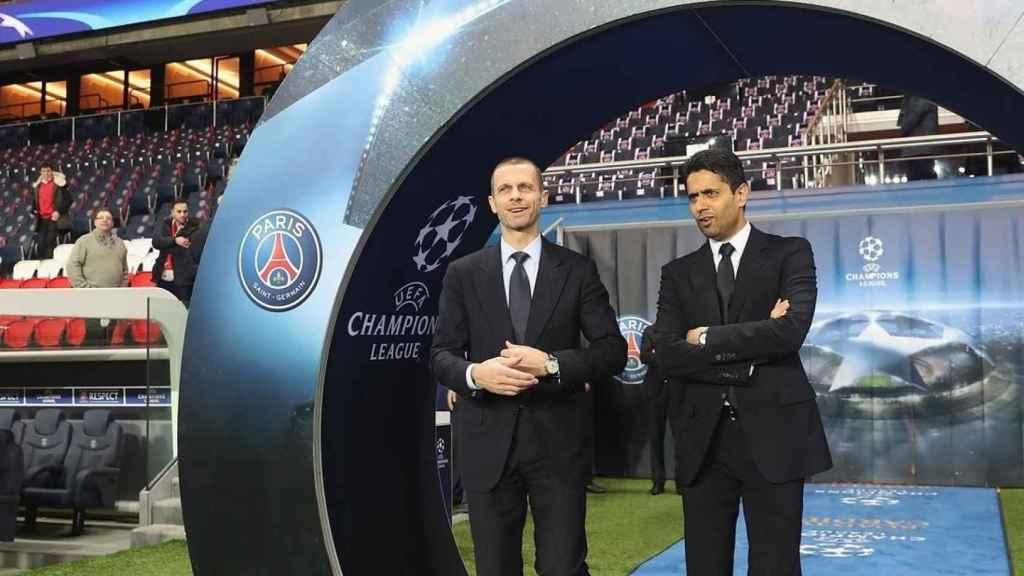 Ceferin, con Al-Khelaifi en la previa de un partido de la Champions League
