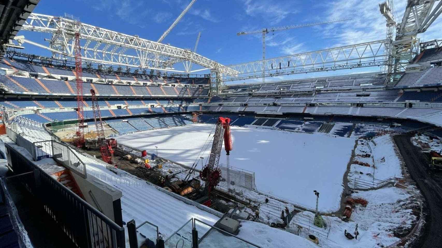 Las obras del Santiago Bernabéu, el 18 de enero de 2021