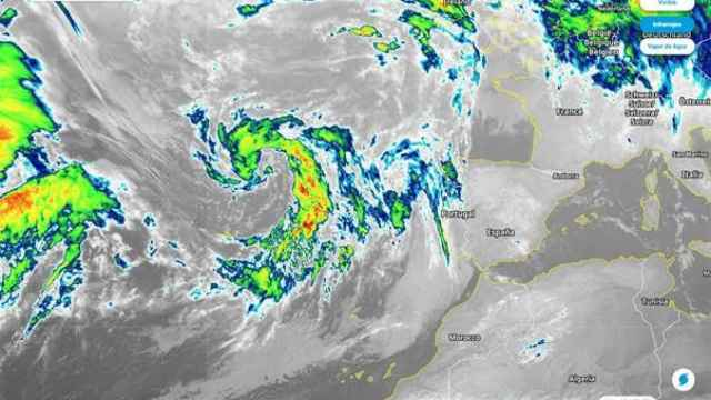 Imagen de satélite, donde se aprecia la borrasca Gaetan al oeste de la península. Meteored.