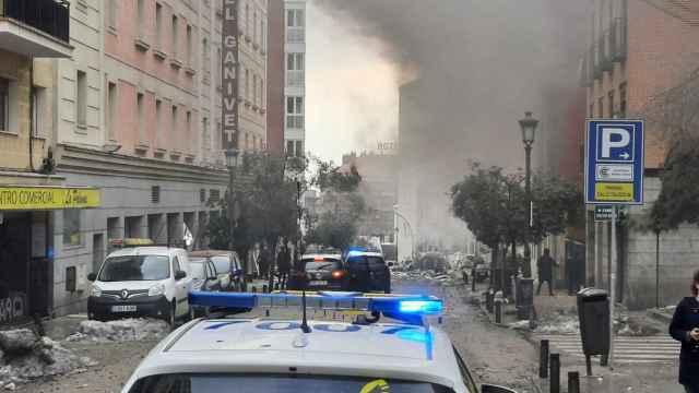 Fuerte explosión en un edificio en Madrid