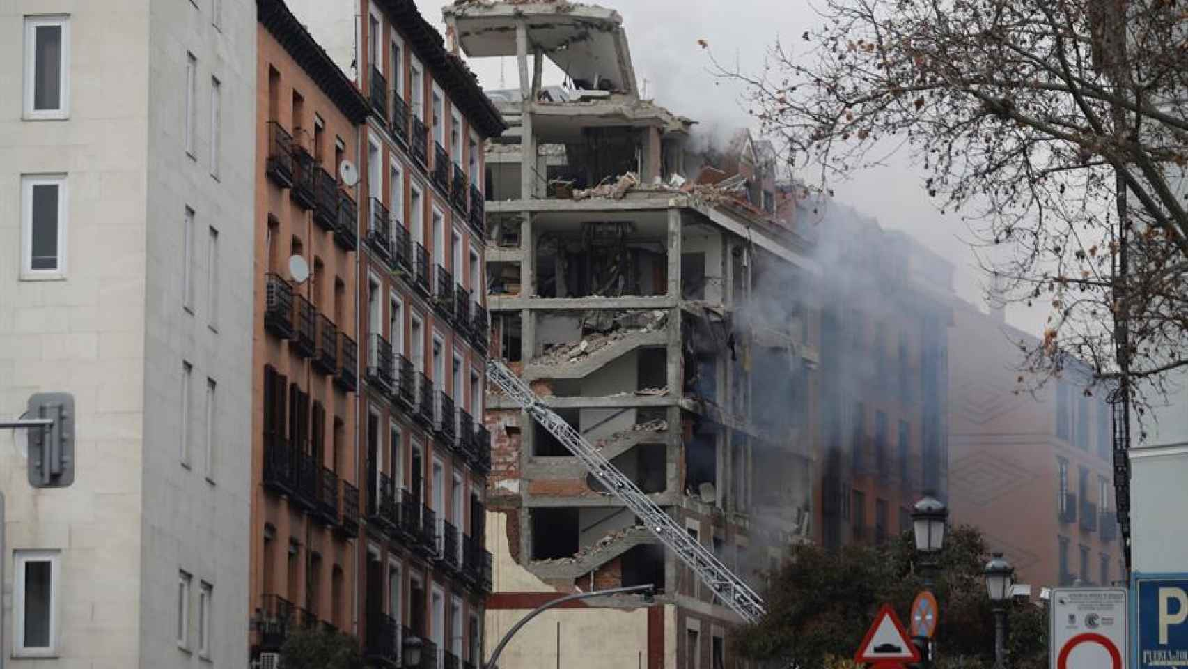 Explosión de un edificio en la calle Toledo, en el centro de Madrid
