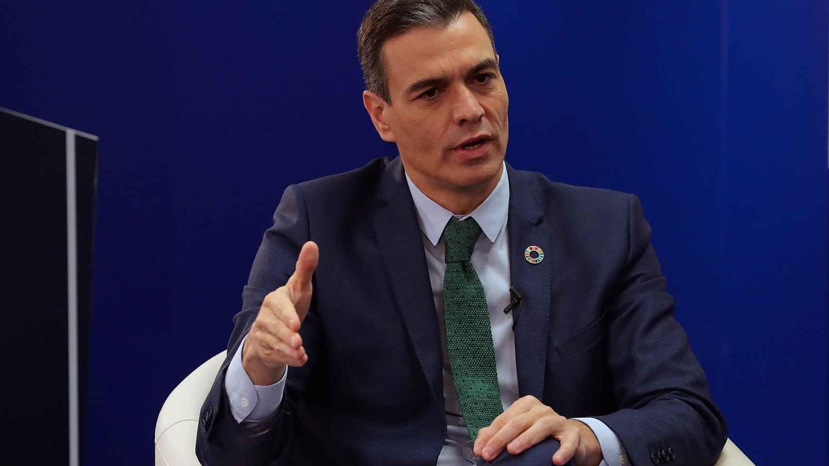 Pedro Sánchez, presidente del Gobierno, en la sede de la agencia Efe.