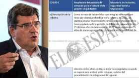 José Luis Escrivá, ministro de Seguridad Social, junto al documento que dice que no ha existido y no va a existir.