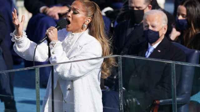 Jennifer Lopez durante su actuación en la toma de posesión de Joe Biden.