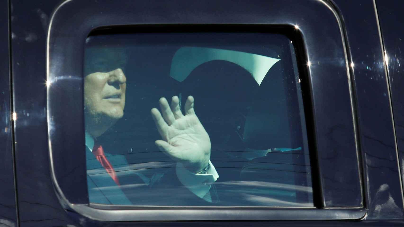 Donald Trump tras llegar a Florida.