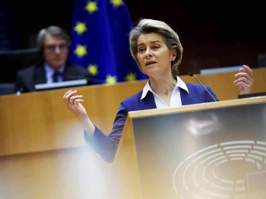 La presidenta de la Comisión, Ursula von der Leyen, durante una comparecencia en la Eurocámara