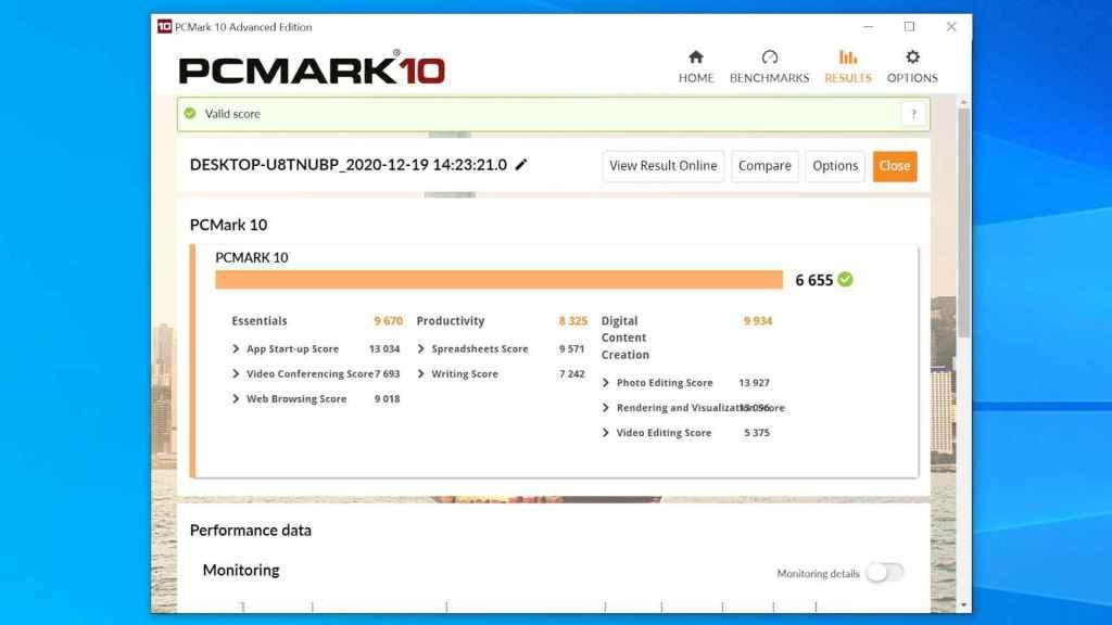 Prueba de PCMark 10 en el Intel NUC 9