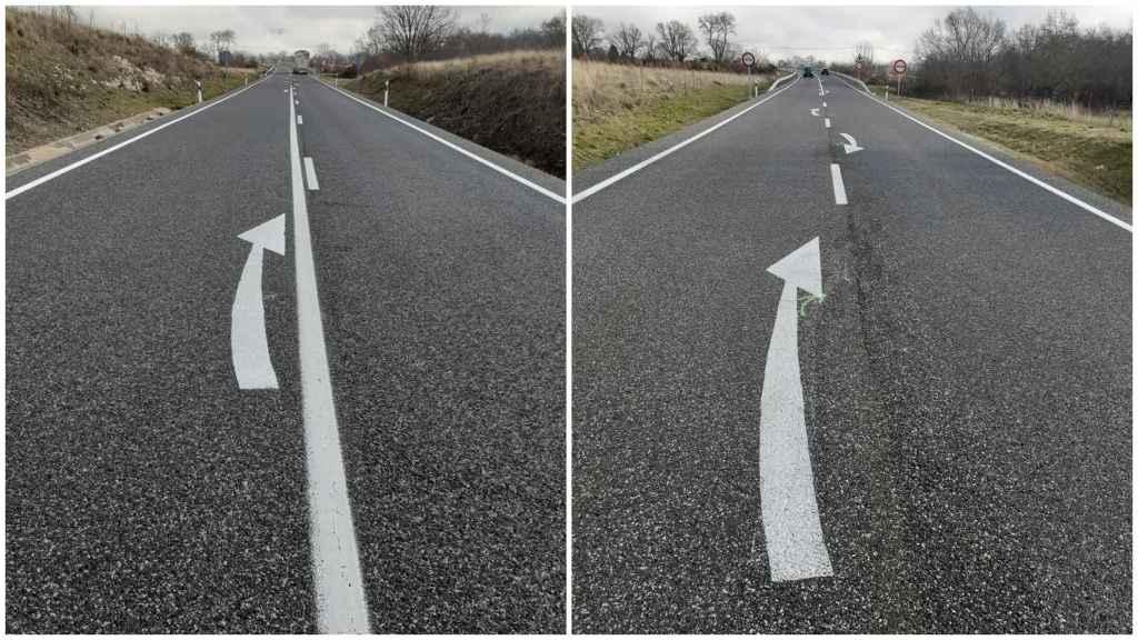 Las nuevas flechas de retorno, en fase de pruebas, pintadas en algunas vías convencionales.