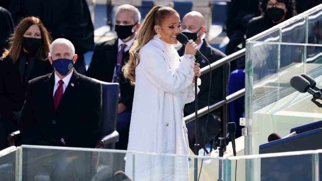 Jennifer Lopez, durante su actuación en la investidura de Joe Biden.