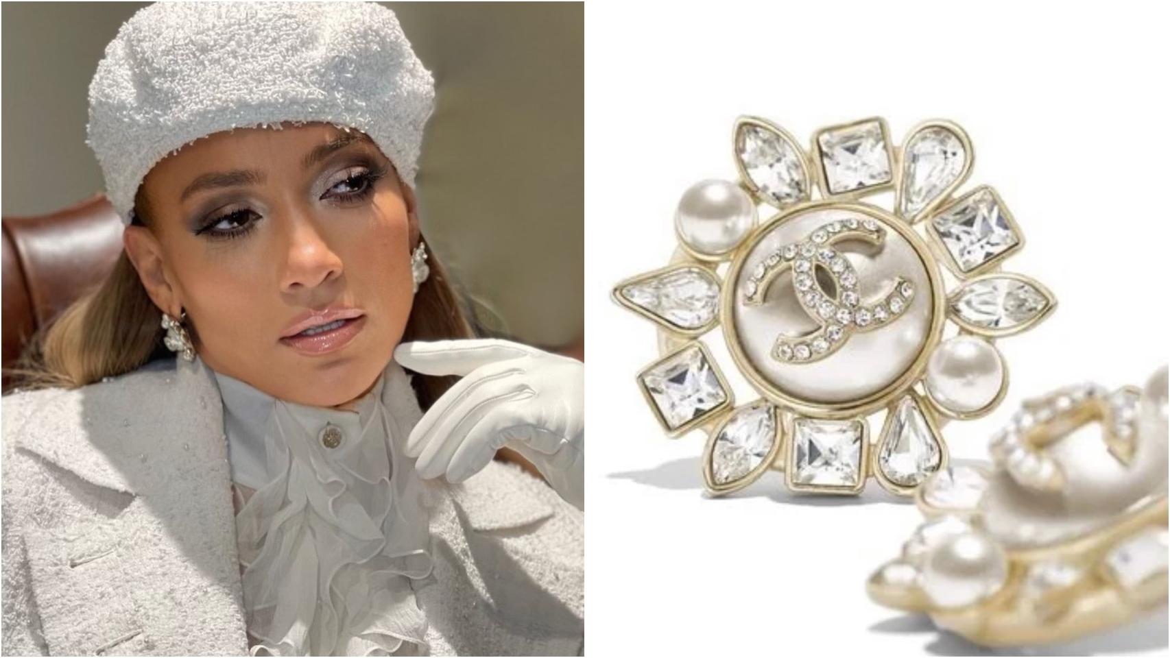 Jennifer Lopez con pendientes de Chanel.