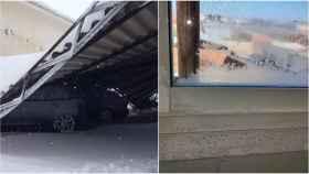 El aparcamiento de uno de los cuarteles, y la ventana congelada de una de las dependencias.