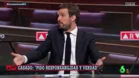 El presidente del PP, Pablo Casado, este jueves en Al Rojo Vivo.