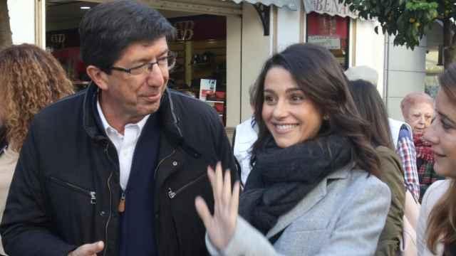 Inés Arrimadas y Juan Marín, en un acto de campaña.