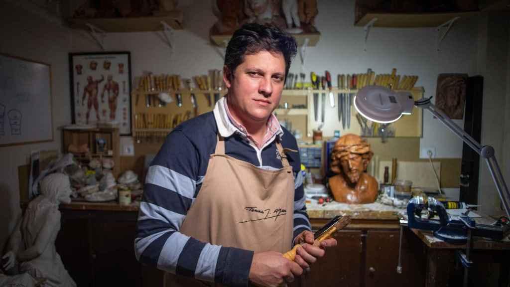 Fernando Aguado en su taller.