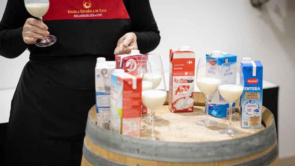La especialista de la Escuela Española de Cata, probando la leche entera de Carrefour.