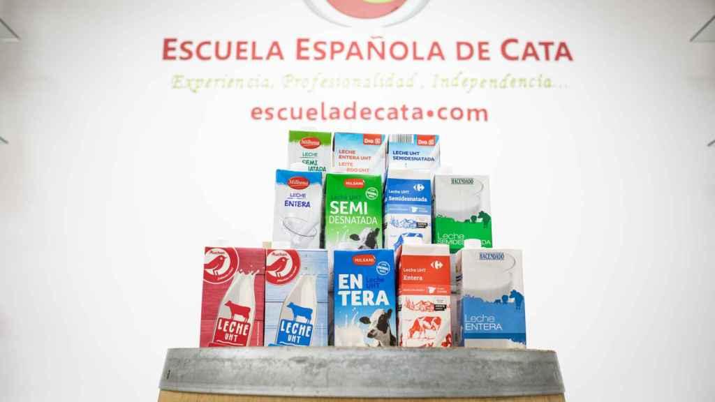 Las 12 leches de las marcas blancas de los supermercados -6 semidesnatadas y 6 enteras- analizadas en la cata.