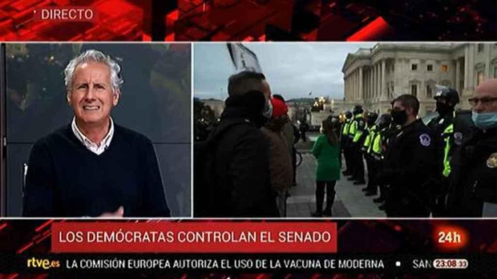 TVE relegó la información sobre el asalto al Capitolio al Canal 24 horas.