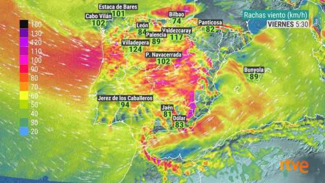 Rachas de viento provocadas por Hortense. @agomezmeteo_tve / RTVE
