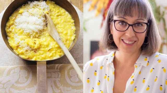 La nutricionista Raquel Bernárcer junto a un plato de risotto. @Penguin Random House.