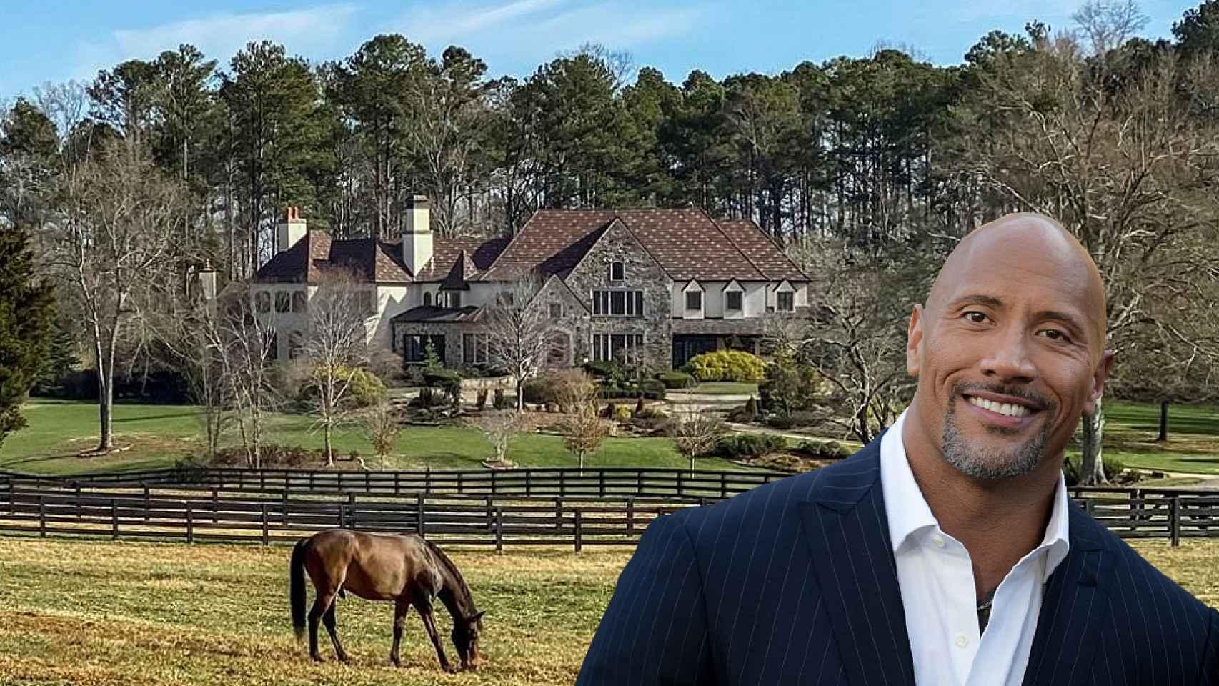 Dwayne Johnson, junto a su hacienda en Georgia, en un fotomontaje de JALEOS.