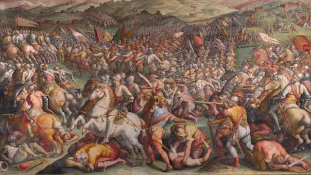 La batalla de Marciano en Val di Chiana, un fresco de Giorgio Vasari.