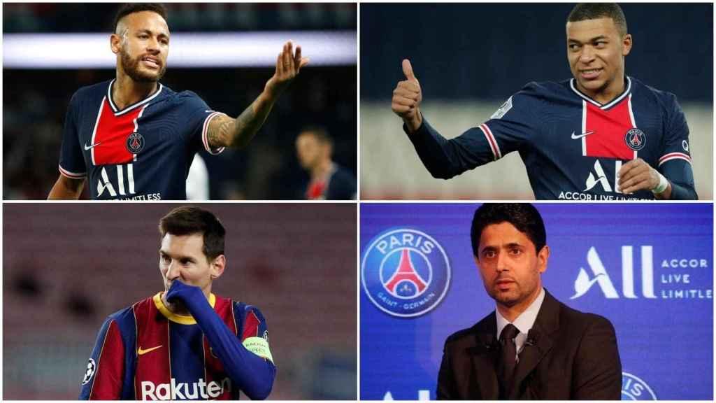 Neymar, Mbappé, Messi y Al-Khelaifi, en un collage
