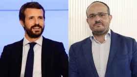 El presidente del PP, Pablo Casado, y el líder del partido en Cataluña, Alejandro Fernández.