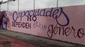 El mural, el día de su inauguración.