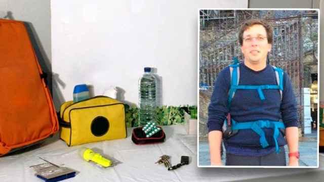 Los elementos que debe llevar la mochila, junto a un retrato del alcalde.