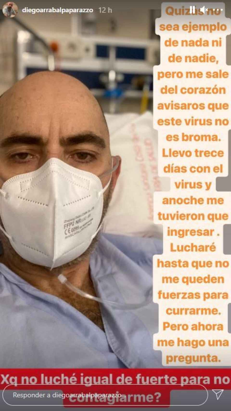 La imagen de Diego en el hospital.