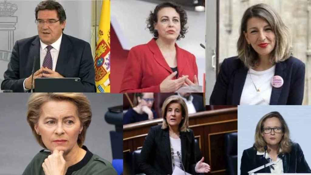 José Luis Escrivá, Magdalena Valerio, Yolanda Díaz, Ursula Von der Leyen, Fátima Báñez y Nadia Calviño.