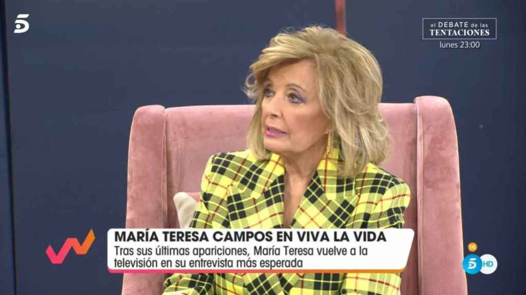 Teresa Campos minutos después de comenzar la entrevista.